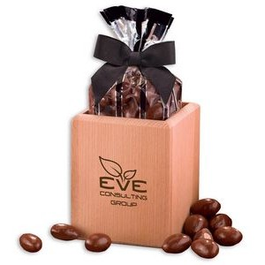Hardwood Pen & Pencil Cup with Chocolate Covered Almonds