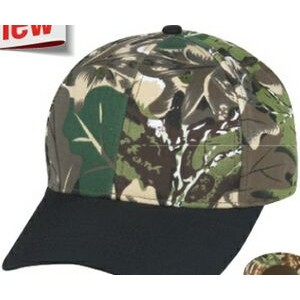 Low Crown (Constructed) 6 Panel Camo Twill Cap with Black Bill