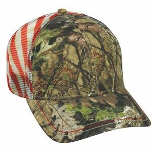 6 Panel Camo Cap with Flag Mesh Back