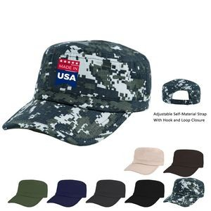 Cotton Twill, Military Style Adjustable Cap